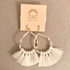 NWT White Beaded Tassel Earrings